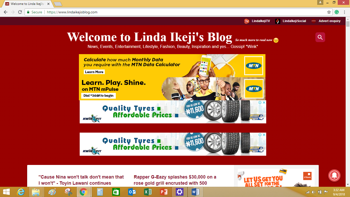 Top Banner Ad on Linda Ikejis blog