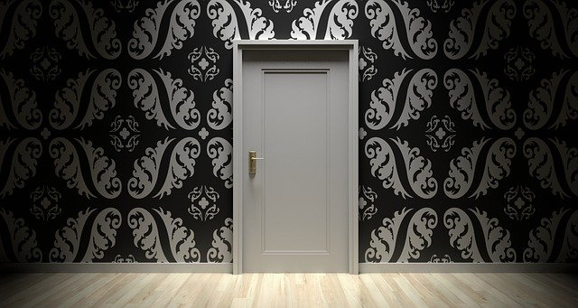 white and black door