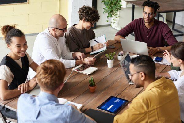 IBM internship 2021 interns on a table