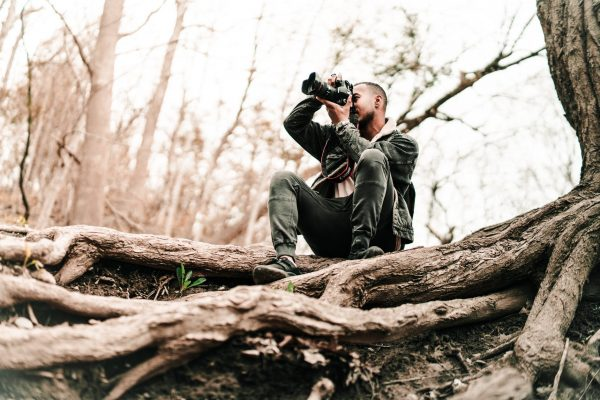 photographer on a tree working