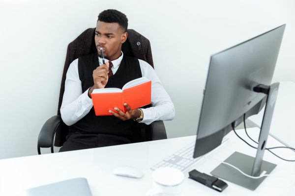 student who is successful in life seats in an office