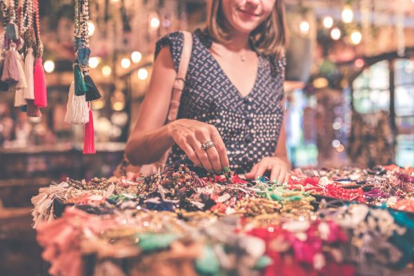 woman selling vintage items from home